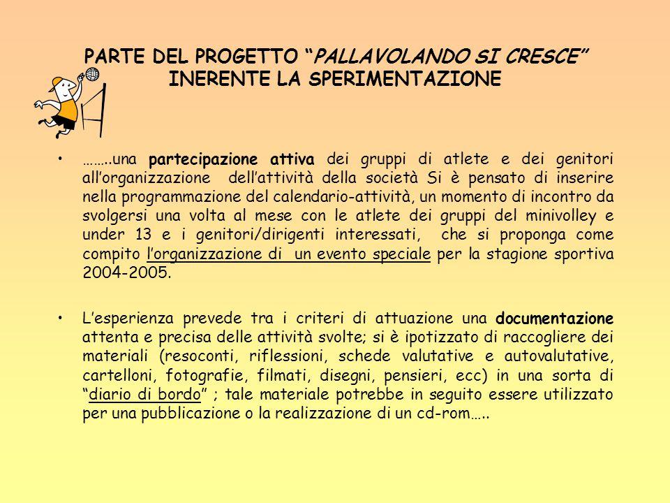 PARTE DEL PROGETTO PALLAVOLANDO SI CRESCE INERENTE LA SPERIMENTAZIONE
