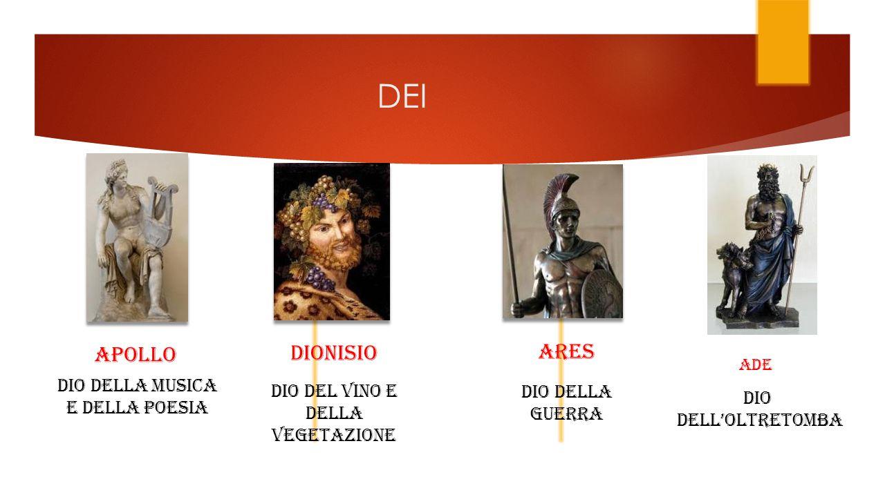 DEI APOLLO DIONISIO ARES DIO DELLA MUSICA E DELLA POESIA