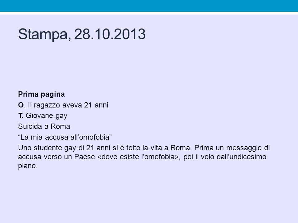 Stampa, 28.10.2013