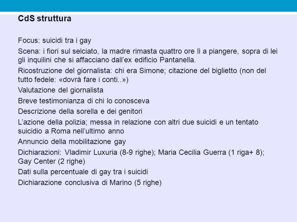 CdS struttura Focus: suicidi tra i gay