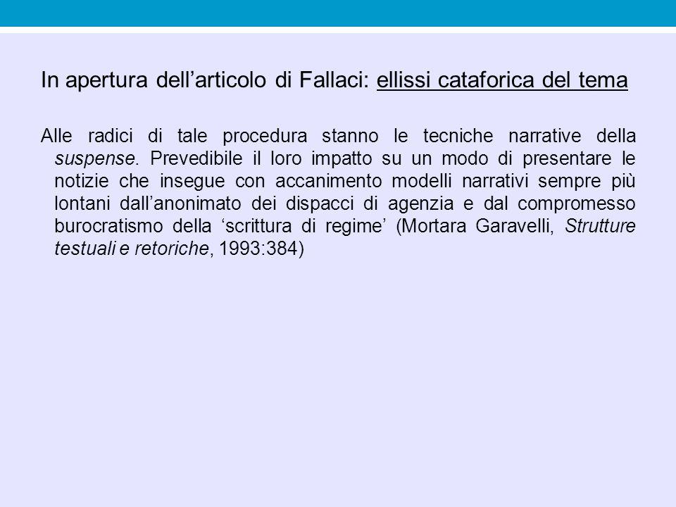 In apertura dell'articolo di Fallaci: ellissi cataforica del tema