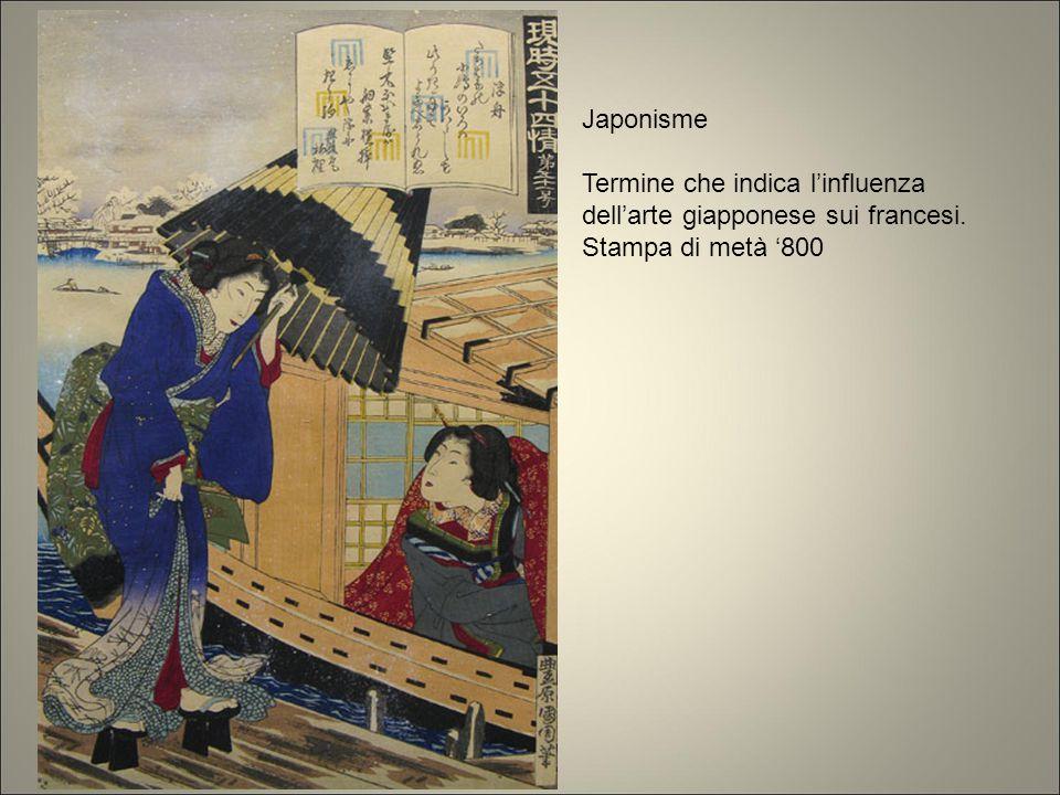Japonisme Termine che indica l'influenza dell'arte giapponese sui francesi. Stampa di metà '800.