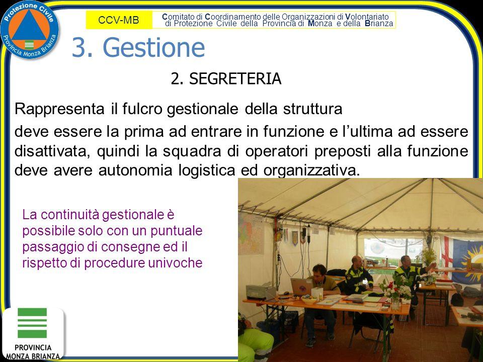 3. Gestione 2. SEGRETERIA. Rappresenta il fulcro gestionale della struttura.
