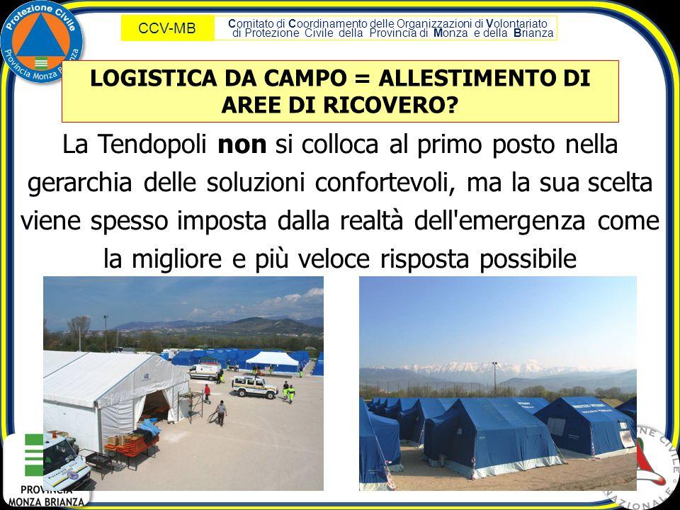 LOGISTICA DA CAMPO = ALLESTIMENTO DI AREE DI RICOVERO
