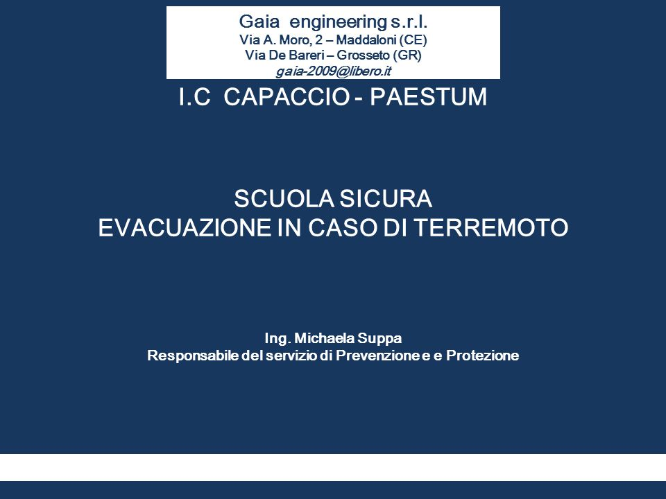 I.C CAPACCIO - PAESTUM SCUOLA SICURA EVACUAZIONE IN CASO DI TERREMOTO