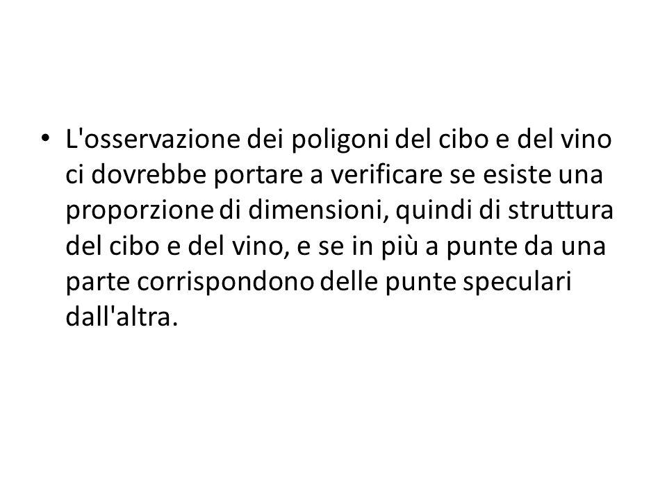 L osservazione dei poligoni del cibo e del vino ci dovrebbe portare a verificare se esiste una proporzione di dimensioni, quindi di struttura del cibo e del vino, e se in più a punte da una parte corrispondono delle punte speculari dall altra.
