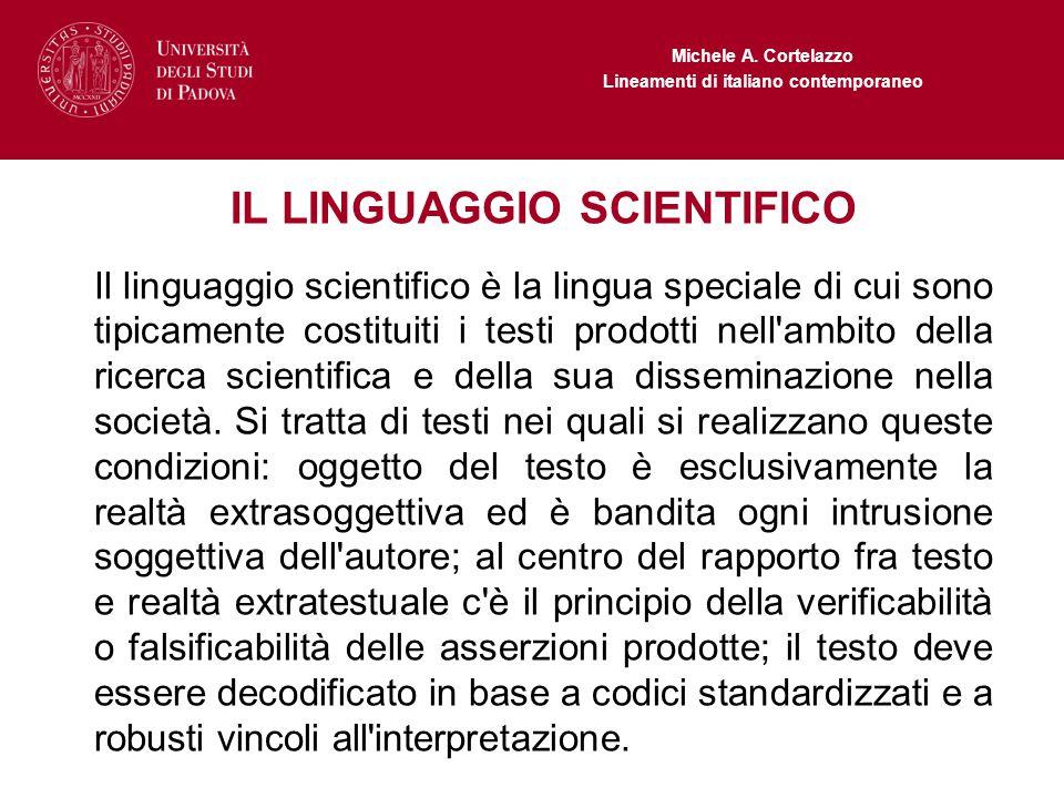 IL LINGUAGGIO SCIENTIFICO