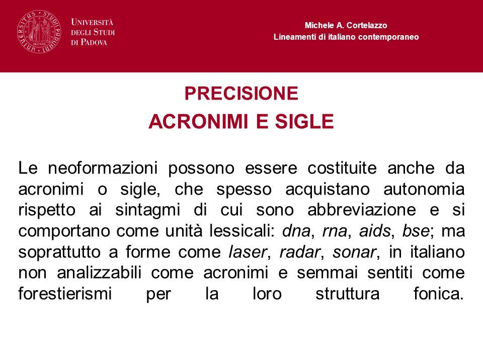 ACRONIMI E SIGLE PRECISIONE