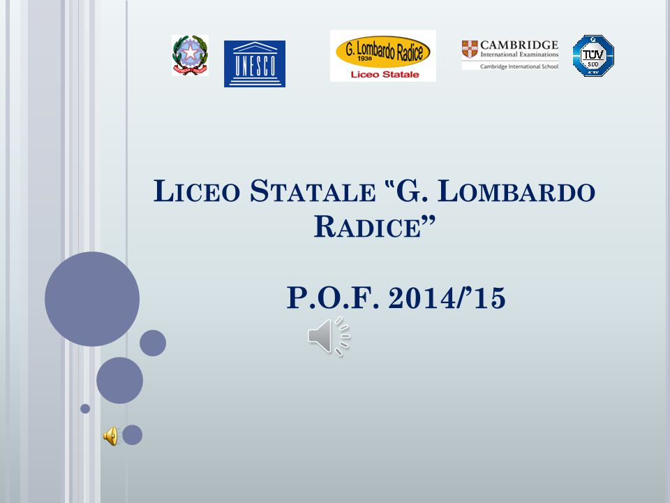"Liceo Statale ""G. Lombardo Radice P.O.F. 2014/'15"