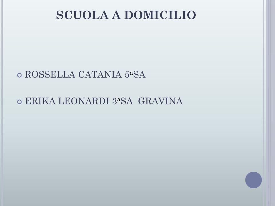 SCUOLA A DOMICILIO ROSSELLA CATANIA 5aSA ERIKA LEONARDI 3aSA GRAVINA