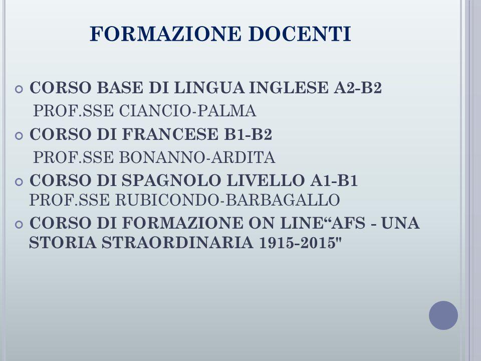 FORMAZIONE DOCENTI CORSO BASE DI LINGUA INGLESE A2-B2