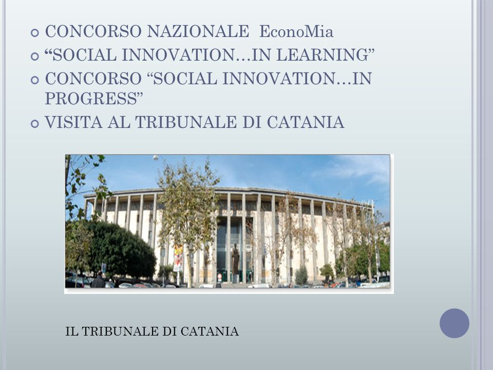 CONCORSO NAZIONALE EconoMia SOCIAL INNOVATION…IN LEARNING