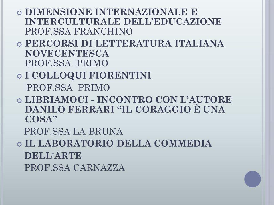 DIMENSIONE INTERNAZIONALE E INTERCULTURALE DELL'EDUCAZIONE PROF