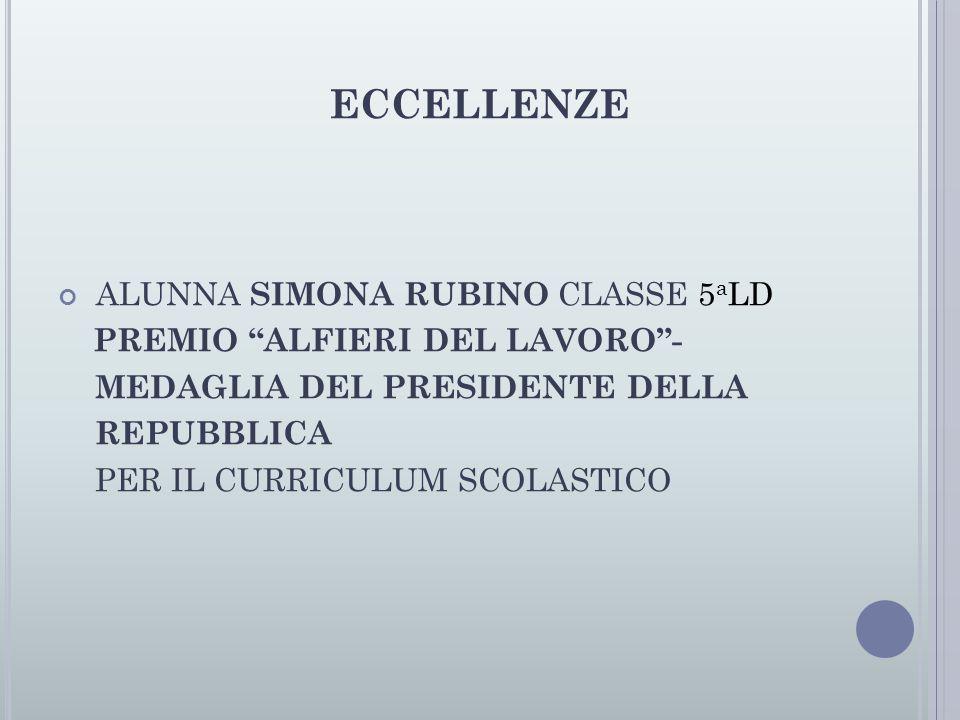 ECCELLENZE ALUNNA SIMONA RUBINO CLASSE 5aLD