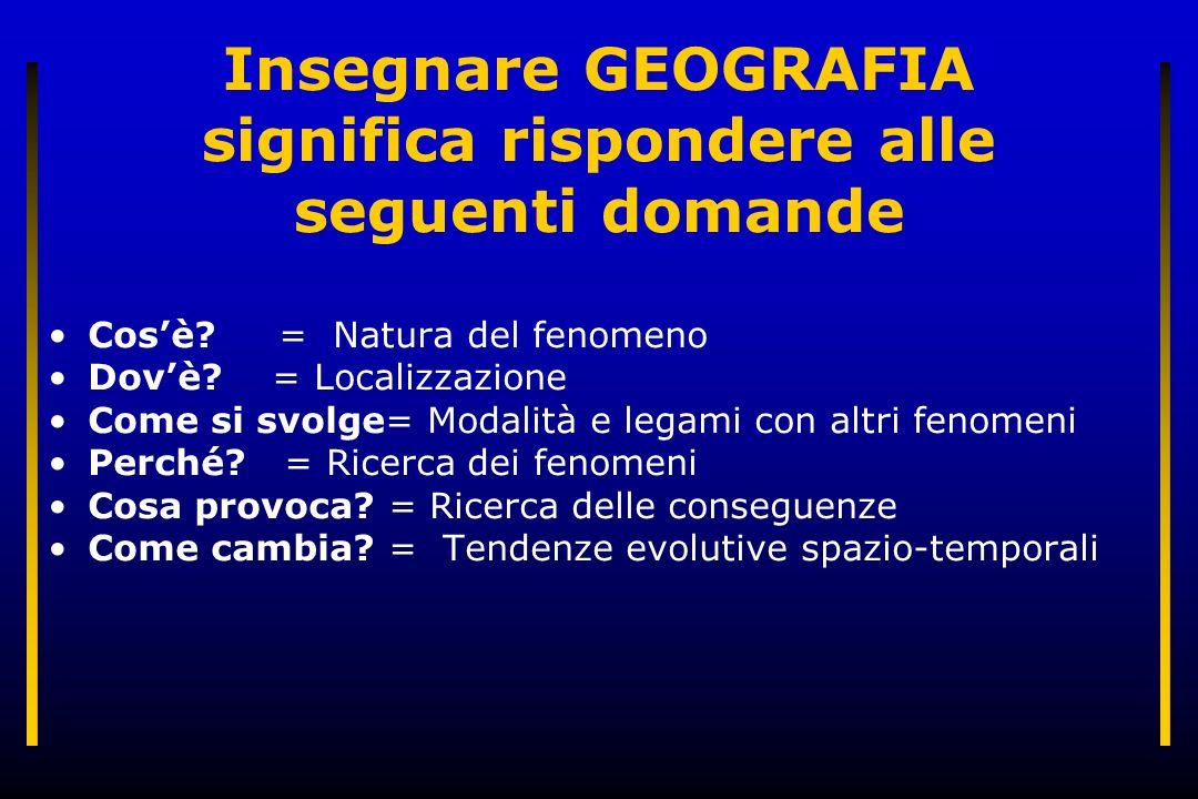 Insegnare GEOGRAFIA significa rispondere alle seguenti domande