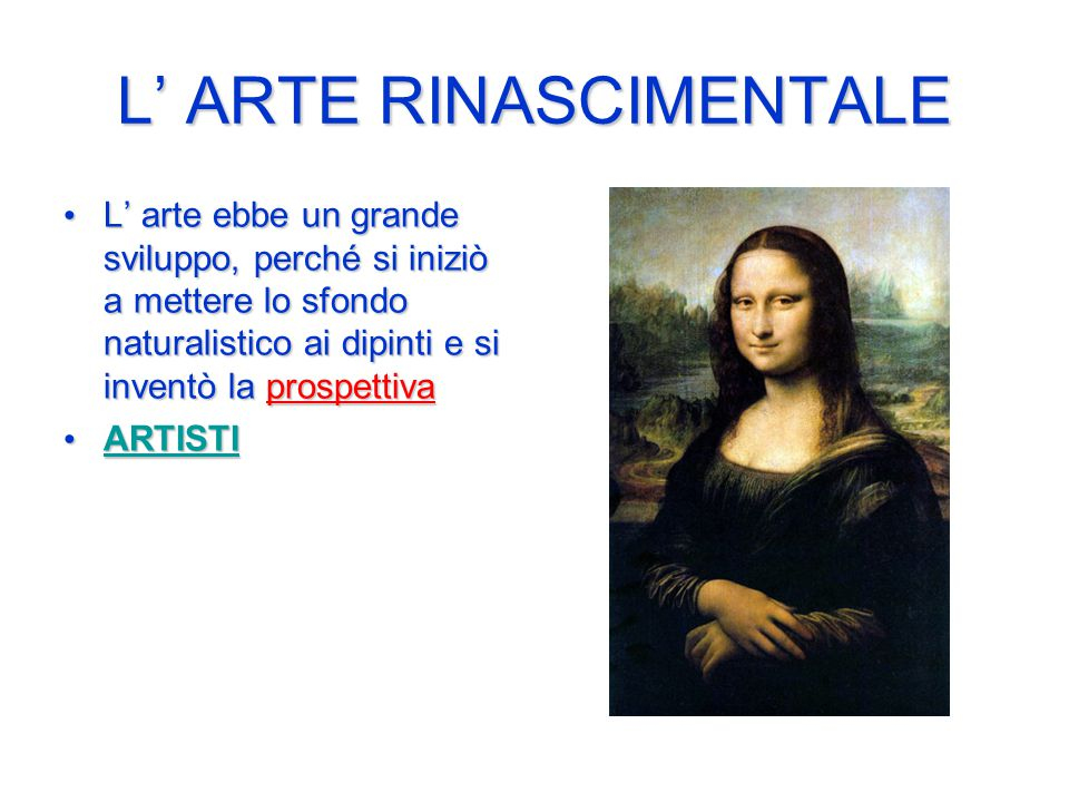 L' ARTE RINASCIMENTALE
