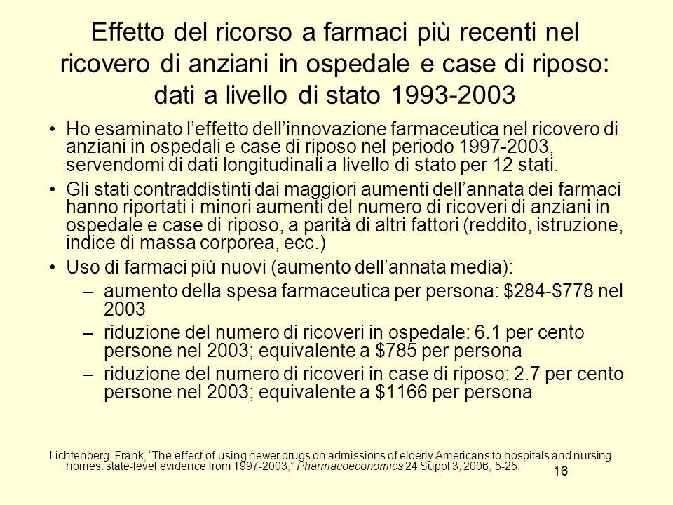 Effetto del ricorso a farmaci più recenti nel ricovero di anziani in ospedale e case di riposo: dati a livello di stato 1993-2003
