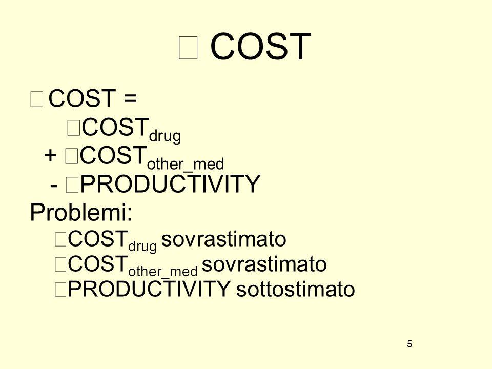 Δ COST COST = ΔCOSTdrug + ΔCOSTother_med - ΔPRODUCTIVITY Problemi: