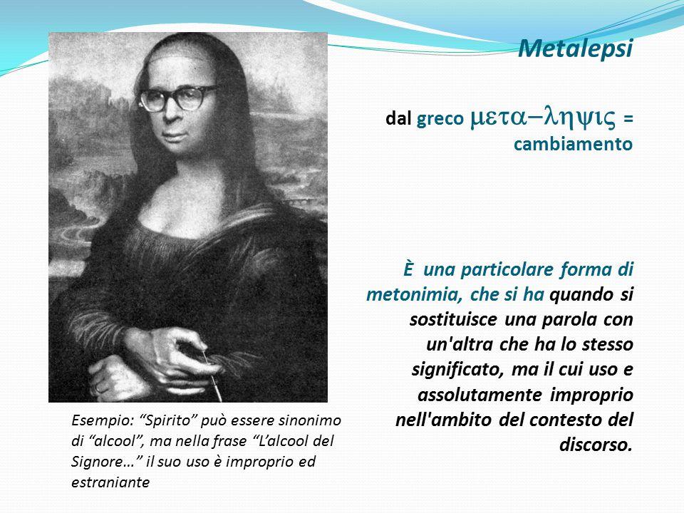 Metalepsi dal greco meta-lhyiV = cambiamento È una particolare forma di metonimia, che si ha quando si sostituisce una parola con un altra che ha lo stesso significato, ma il cui uso e assolutamente improprio nell ambito del contesto del discorso.