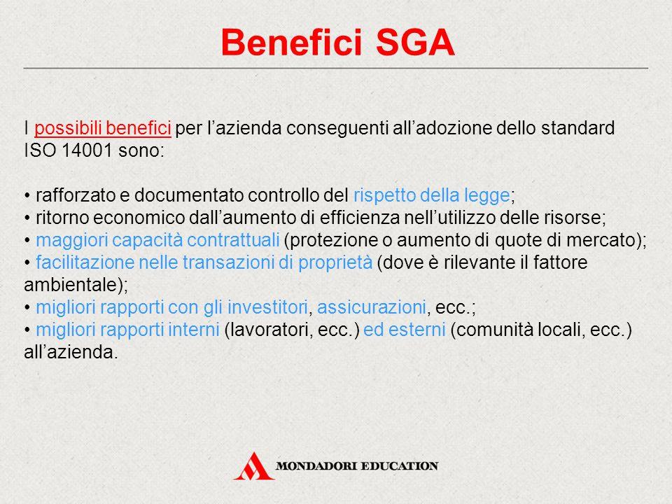 Benefici SGA I possibili benefici per l'azienda conseguenti all'adozione dello standard. ISO 14001 sono: