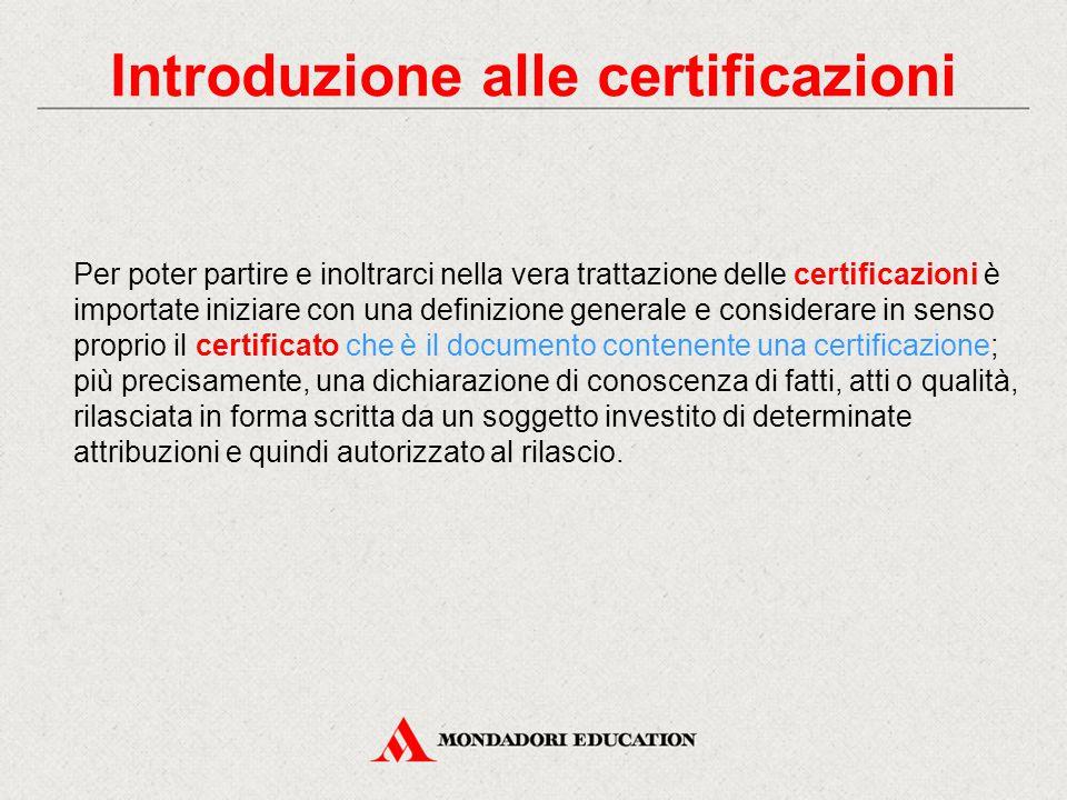 Introduzione alle certificazioni