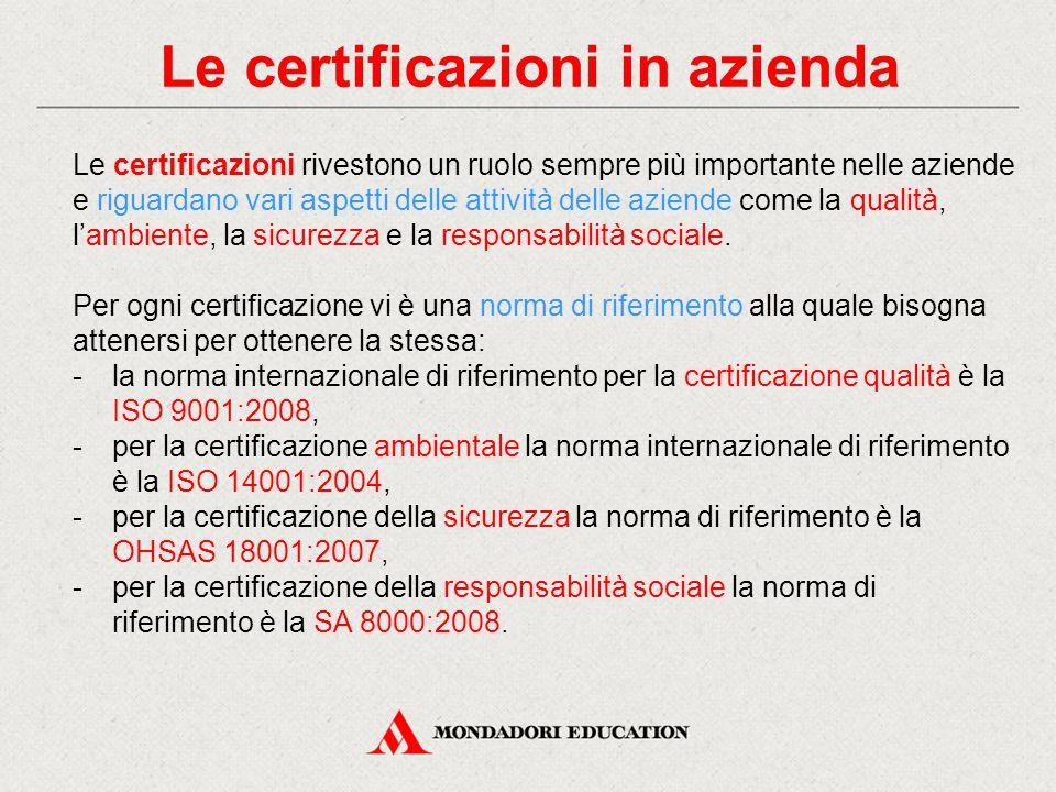 Le certificazioni in azienda