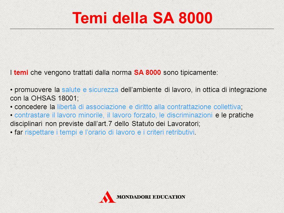 Temi della SA 8000 I temi che vengono trattati dalla norma SA 8000 sono tipicamente: