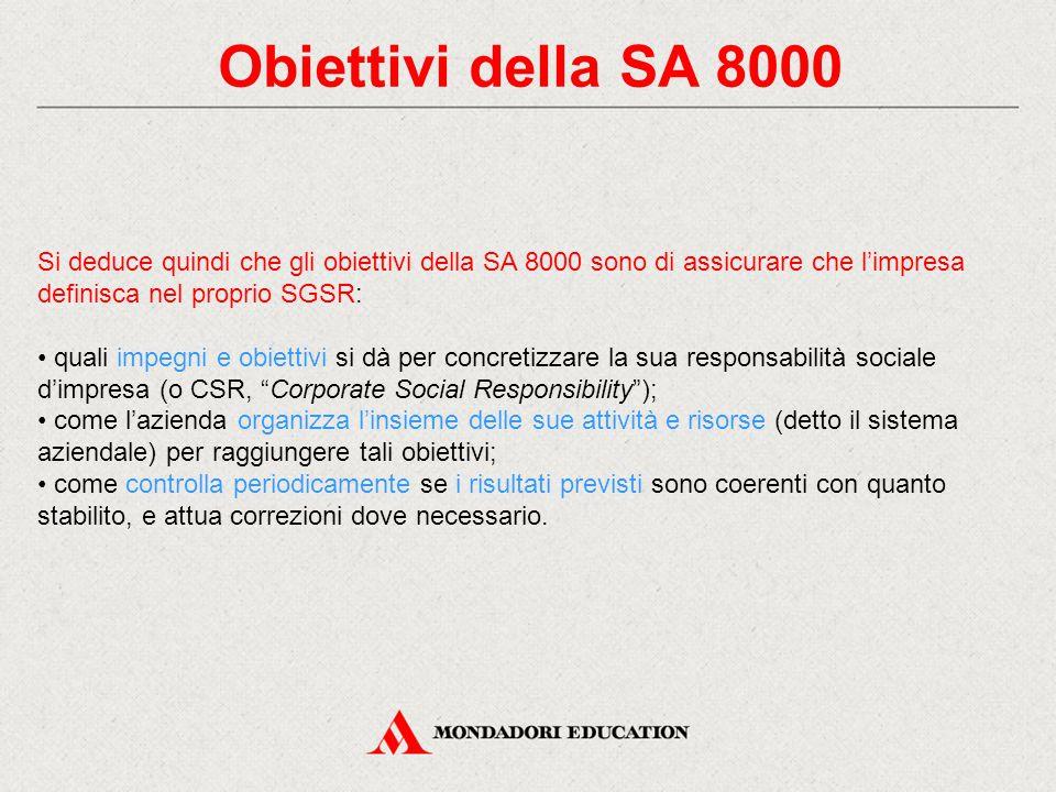 Obiettivi della SA 8000 Si deduce quindi che gli obiettivi della SA 8000 sono di assicurare che l'impresa definisca nel proprio SGSR: