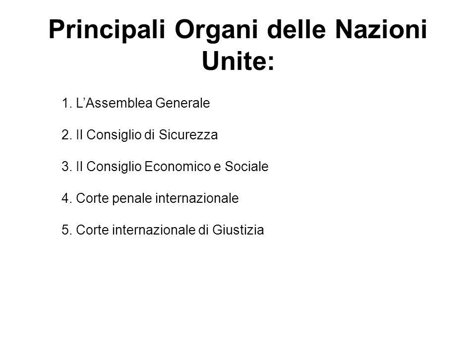 Principali Organi delle Nazioni Unite: