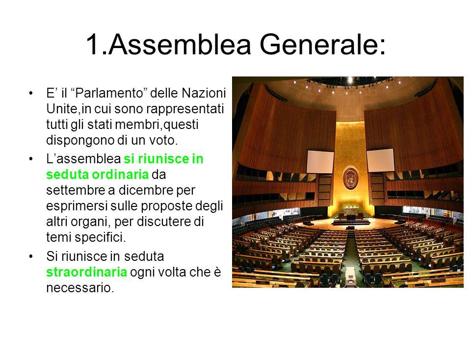 1.Assemblea Generale: E' il Parlamento delle Nazioni Unite,in cui sono rappresentati tutti gli stati membri,questi dispongono di un voto.