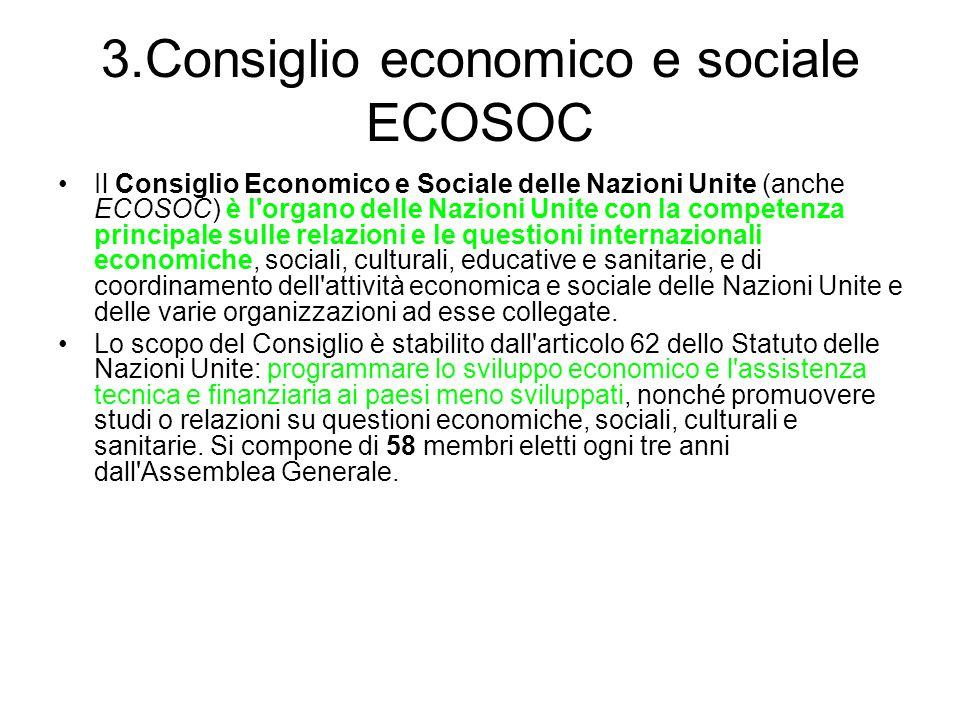 3.Consiglio economico e sociale ECOSOC