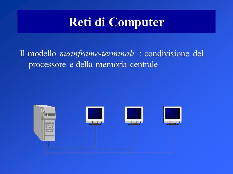 Reti di Computer Il modello mainframe-terminali : condivisione del processore e della memoria centrale.