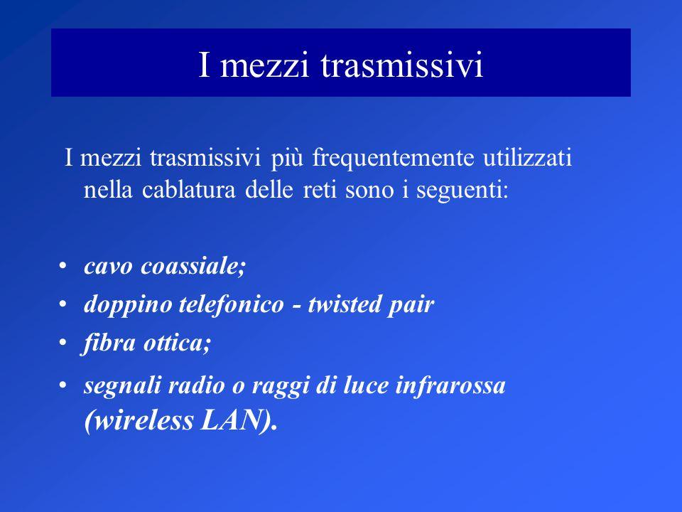 I mezzi trasmissivi I mezzi trasmissivi più frequentemente utilizzati nella cablatura delle reti sono i seguenti: