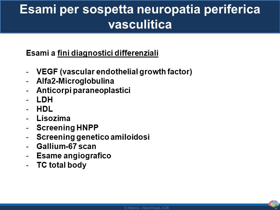 Esami per sospetta neuropatia periferica vasculitica