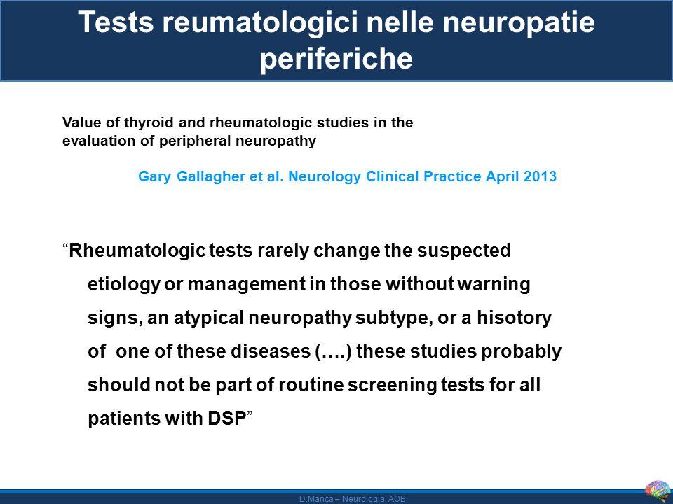 Tests reumatologici nelle neuropatie periferiche