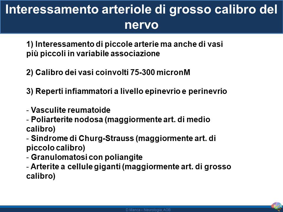 Interessamento arteriole di grosso calibro del nervo