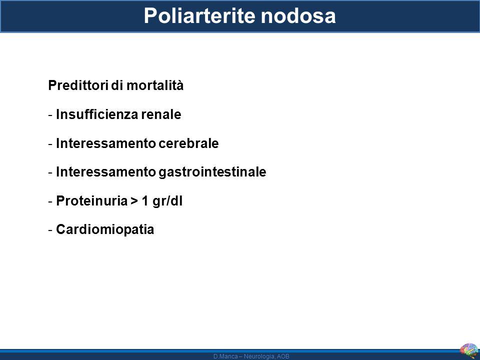 Poliarterite nodosa Predittori di mortalità Insufficienza renale