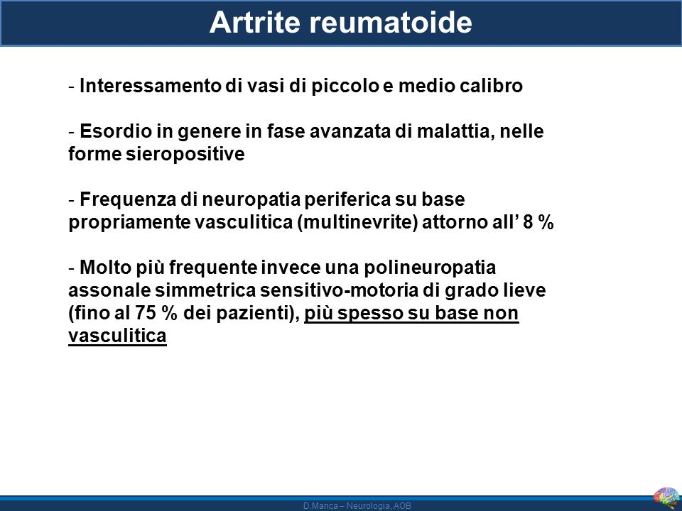 Artrite reumatoide Interessamento di vasi di piccolo e medio calibro