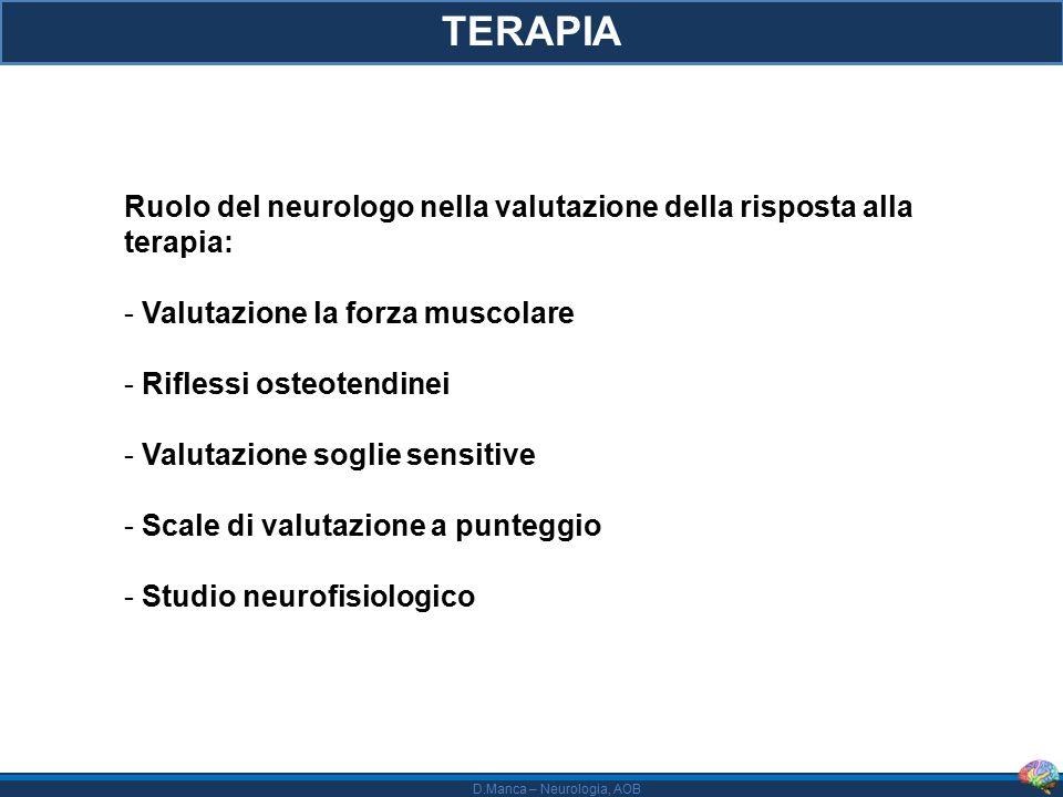 TERAPIA Ruolo del neurologo nella valutazione della risposta alla terapia: Valutazione la forza muscolare.