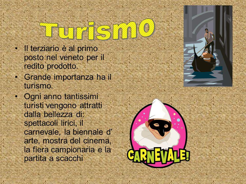 Turismo Il terziario è al primo posto nel veneto per il redito prodotto. Grande importanza ha il turismo.