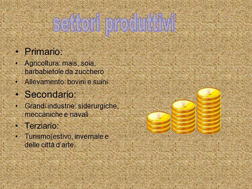 settori produttivi Primario: Secondario: Terziario: