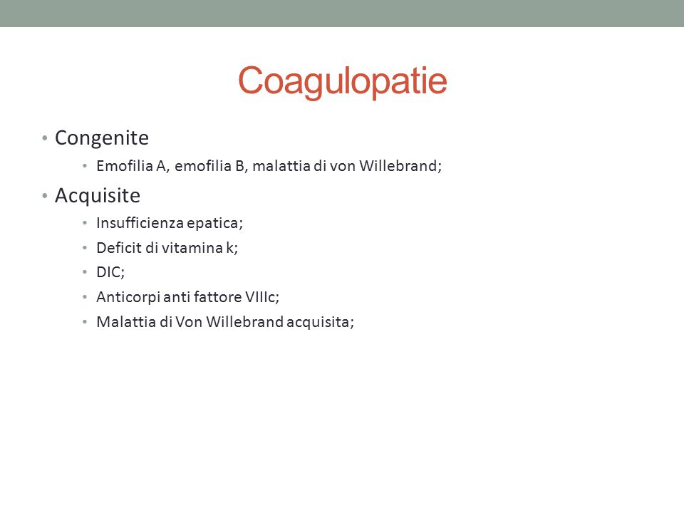 Coagulopatie Congenite Acquisite