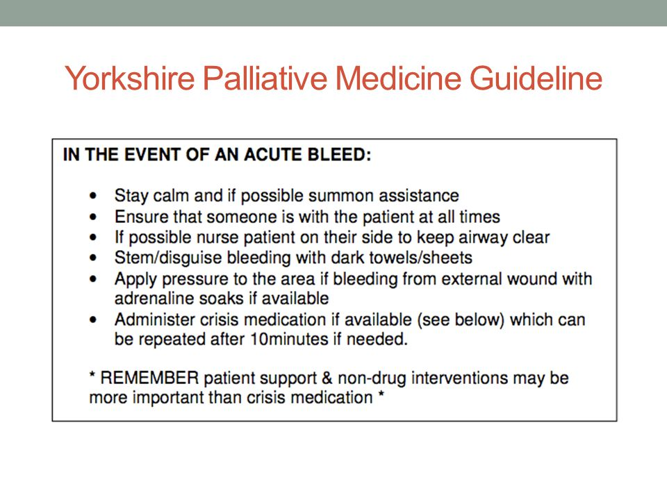 Yorkshire Palliative Medicine Guideline