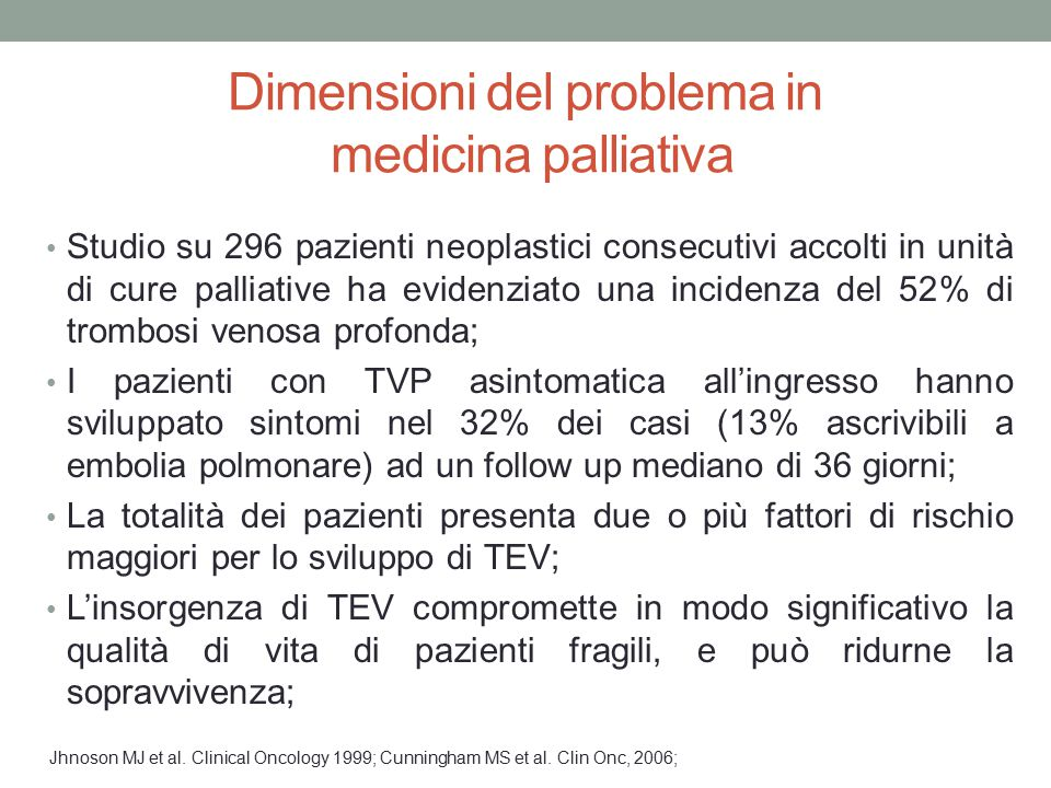 Dimensioni del problema in medicina palliativa