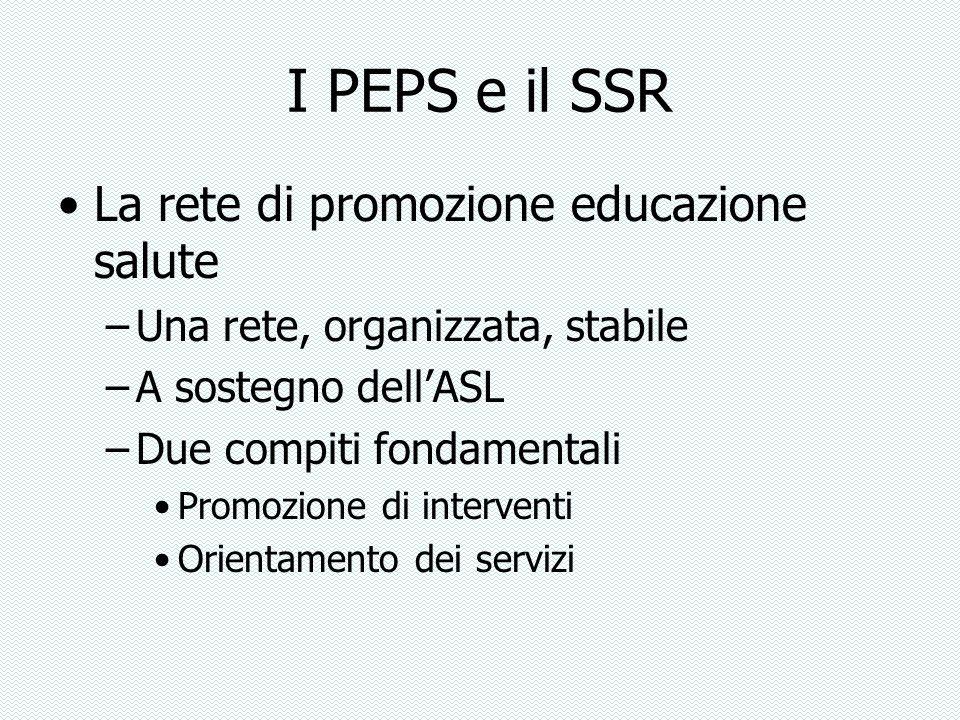 I PEPS e il SSR La rete di promozione educazione salute