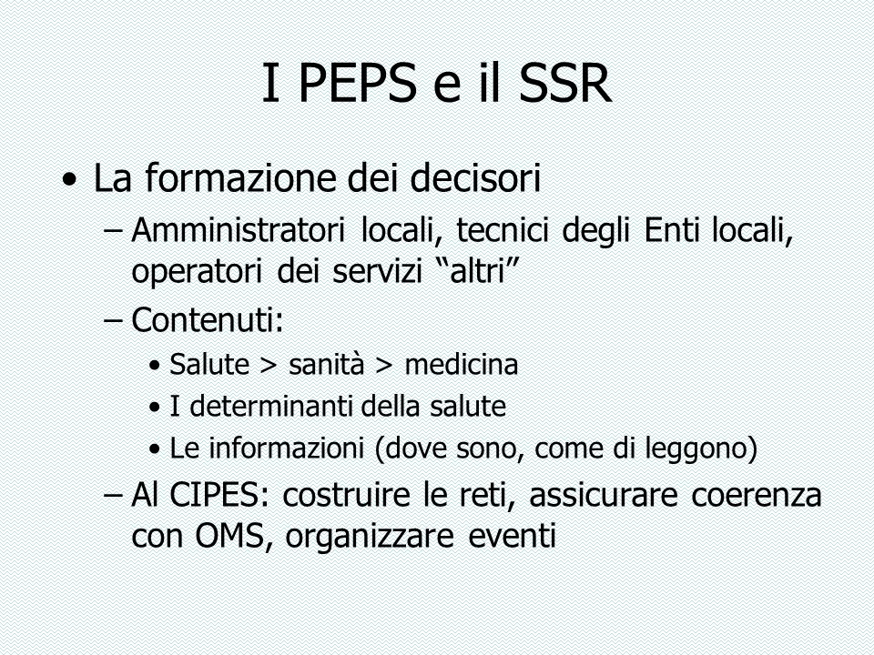 I PEPS e il SSR La formazione dei decisori