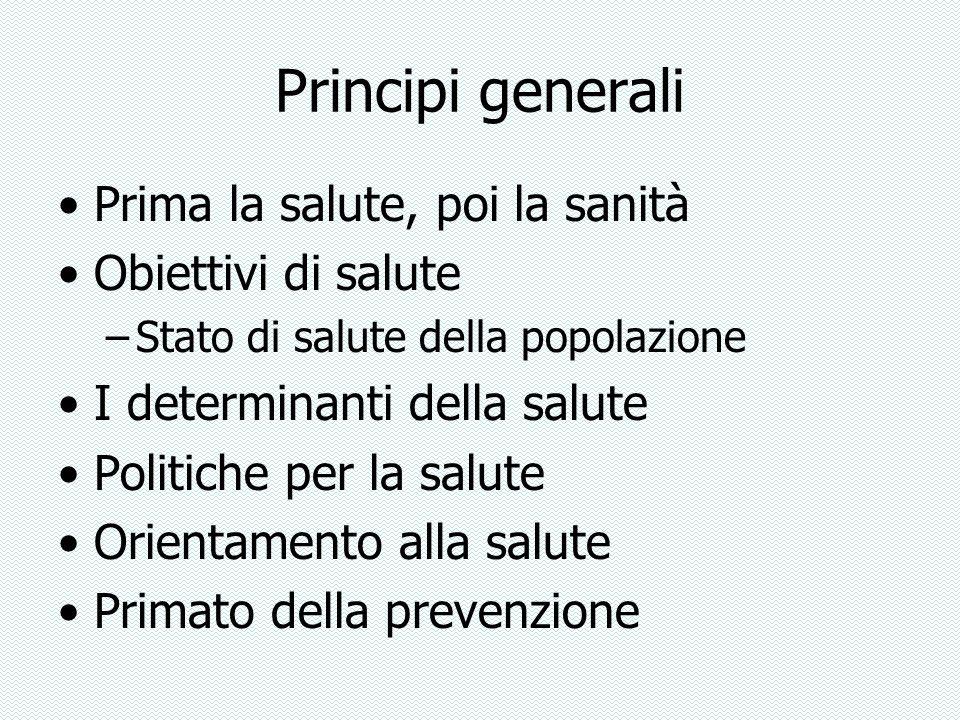 Principi generali Prima la salute, poi la sanità Obiettivi di salute
