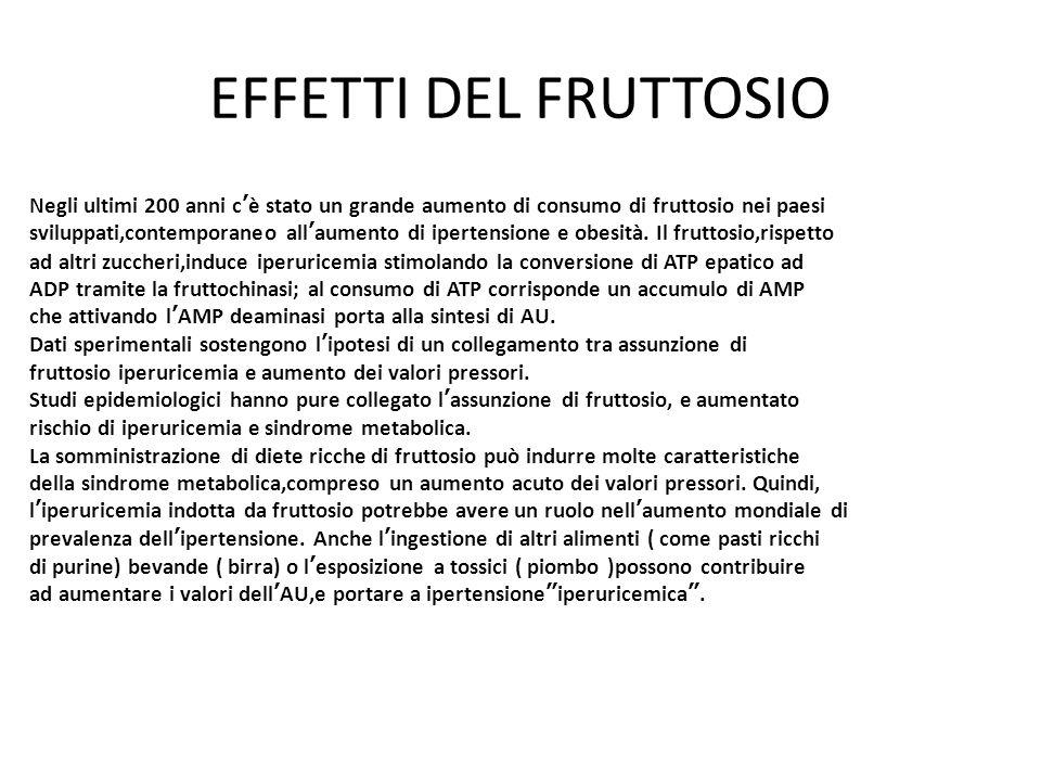 EFFETTI DEL FRUTTOSIO Negli ultimi 200 anni c'è stato un grande aumento di consumo di fruttosio nei paesi.