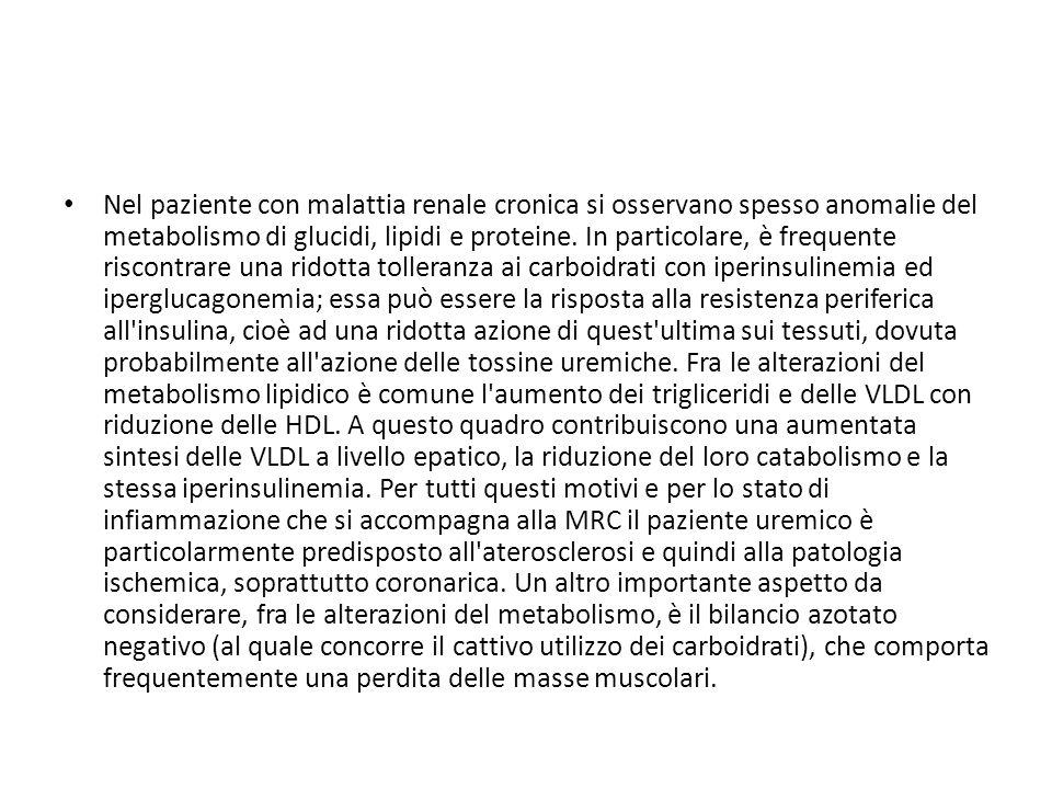Nel paziente con malattia renale cronica si osservano spesso anomalie del metabolismo di glucidi, lipidi e proteine.