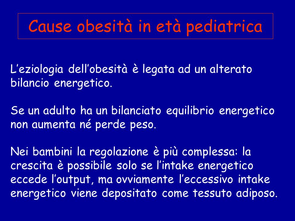 Cause obesità in età pediatrica